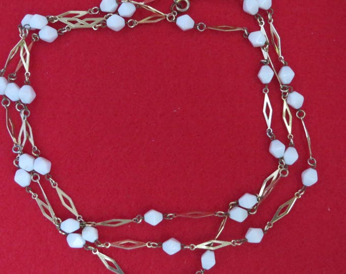 White & Goldtone Flapper Necklace, Long Beaded Necklace, Vintage Goldtone Necklace, FREE SHIPPING