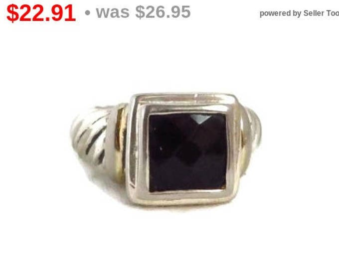 Black Spinel Silver Ring, Vintage Faceted Black Stone Sterling Silver Scrolled Band Ring, Size 5.5