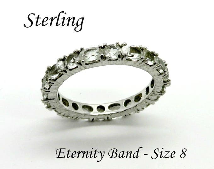 Sterling Silver CZ Eternity Ring, Vintage Wedding Anniversary Ring, Bridal Jewelry Size 8, Gift Box, Perfect Gift, FREE SHIPPING
