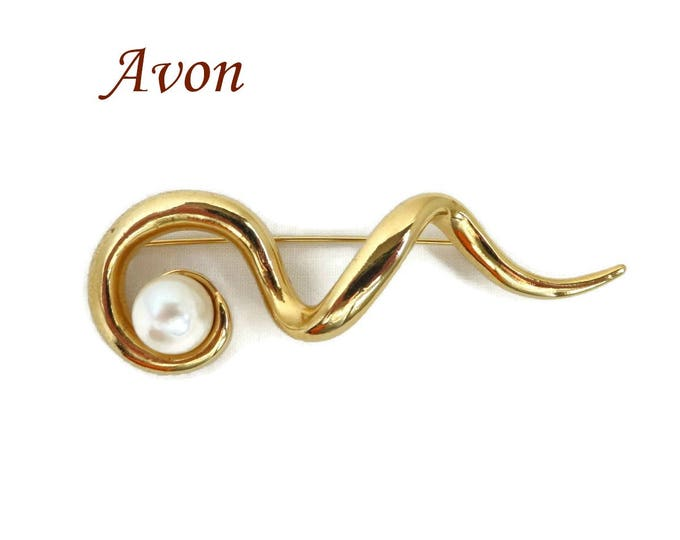 Vintage AVON Brooch - Gold Tone Faux Pearl Squiggle Brooch Pin, Gift for Her, Gift Box, FREE SHIPPING