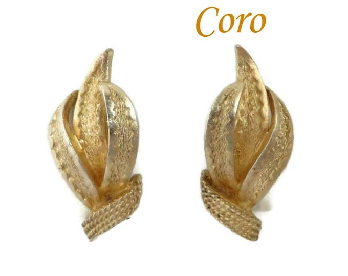 Vintage Earrings - Coro Gold Tone Leaf Clip-on Earrings, Gift for Her, Gift Box, FREE SHIPPING