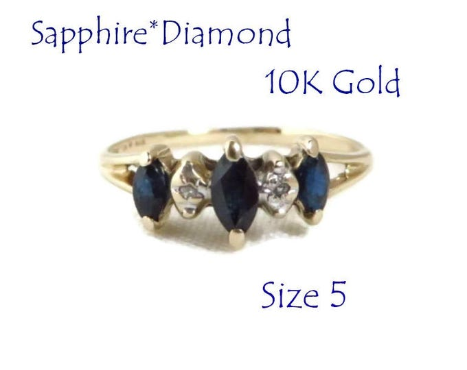 10K Gold Ring - Sapphire & Diamond Ring,  Vintage Estate Wedding, Anniversary Ring, Perfect Gift, Size 5, Gift Box