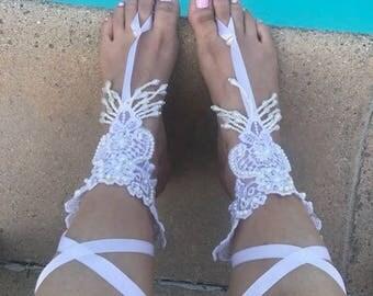 Barefoot Sandals. Wedding Barefoot Sandals. DANGLING Pearl Wedding Barefoot Sandals.