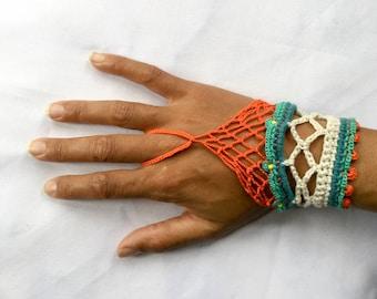 boho orange bracelet, hippie bracelet, gift bracelet, bead bracelet, cotton bracelet, green bracelet, crochet bracelet, orange gift bracelet