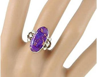 Ladies or gents unique purple turquoise gemstone solid silver ring