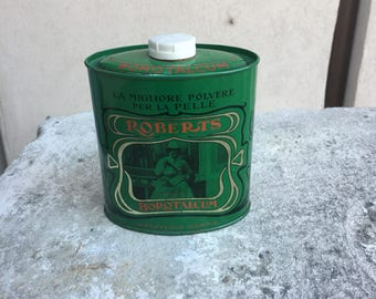 Vintage powder jar Roberts years 50-vintage tin Box