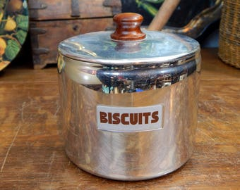 Vintage Sona Stainless Steel Biscuit Barrel