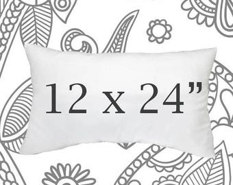 SALE ENDS SOON Faux Down Pillow Insert, 12 x 24 Inch Pillow Form, Down Pillows, Throw Pillows, Soft Pillow Inserts, Synthetic Down