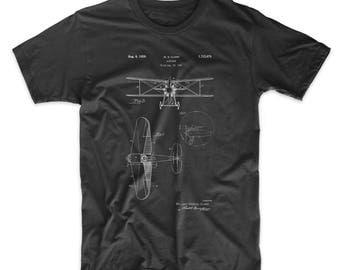 Staggered Biplane Aircraft Patent T Shirt, Airplane TShirt, Pilot Gift, Aviation Gift, Plane Shirt, PP0068