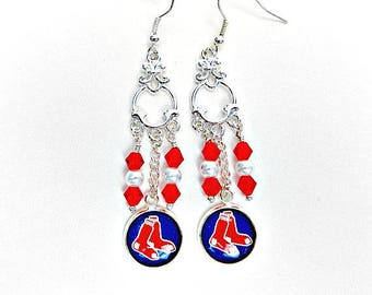 boston red sox jewelry boston red sox earrings red sox fan wear red - Boston Red Sox Bath Accessories