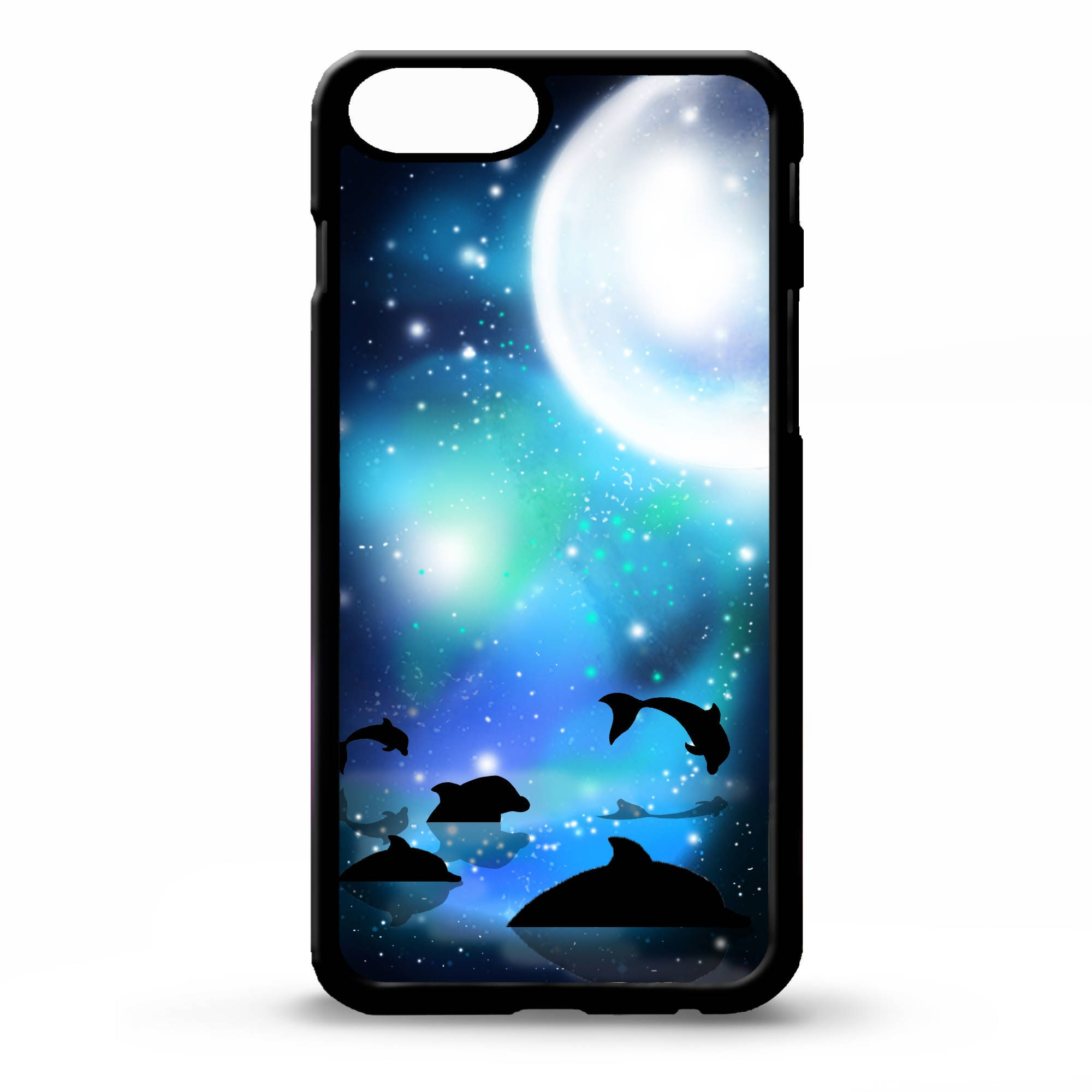 Bags Purses Custom Hardcase Midnight Dots Iphone 4 5 5c 6 Plus 7 Case Dolphins Swimming In Moonlight Full Moon Pretty Dolphin Silhouette Art Cover For Samsung Galaxy S5 S6