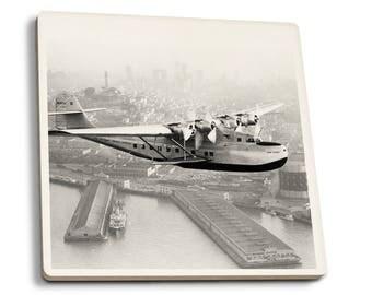 Pan Am China Clipper San Francisco - Vintage Photo (Set of 4 Ceramic Coasters)