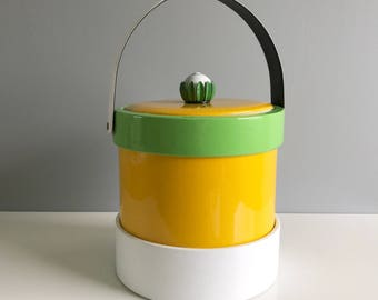 Vintage Ice Bucket / Yellow and Green 60's Ice Bucket / Retro Ice Bucket