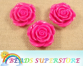 SALE 42 mm Magenta Rose Flower Resin Bead - Gumball Bead - Acrylic Chunky Bead  (42M08)