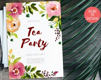 Tea Party Invitation, Editable PDF Invitation Template, Watercolor Summer Luncheon DIY Card | Burlap Wedding Tea Floral Card - Editable Text