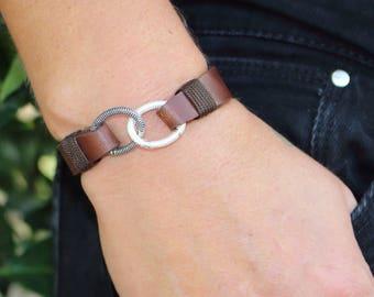 FAST SHIPPING,Weding Bracelet,Sterling Silver Infinity Bracelet,Personalized Leather Bracelet, Leather Women's Bracelet, Anniversary gift