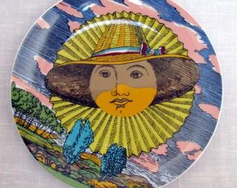 "RARE Fornasetti Color Plate 12 Mesi 12 Soli Series Mesi Soli Solar Almanac 10"" Color Plate Month June Juni Giugno Rosenthal Germany MINT Box"