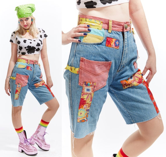 Vtg 90s PATCHWORK JEAN SHORTS High Waisted Grunge Festival Boho Hippie Kitschy Denim Cut Offs Colorblock Psychedelic Unisex Patches Retro