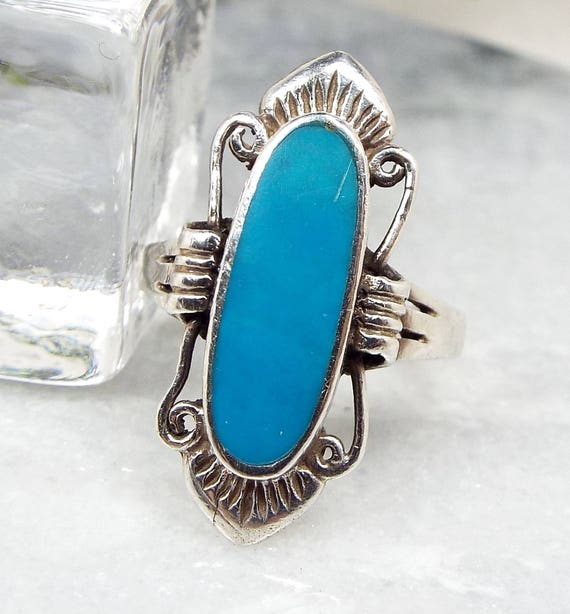 Vintage / Sterling Silver Large Long Boho Turquoise Statement Ring / Size O