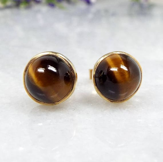 Vintage 9ct Yellow Gold Quality Tiger's Eye Cabochon Gemstone Stud Earrings