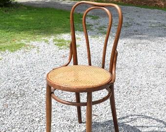 Vintage Thonet Style Bentwood Bistro Chair Cane Seat Medium Dark Tone Wood Austrian Bentwood Label PanchosPorch