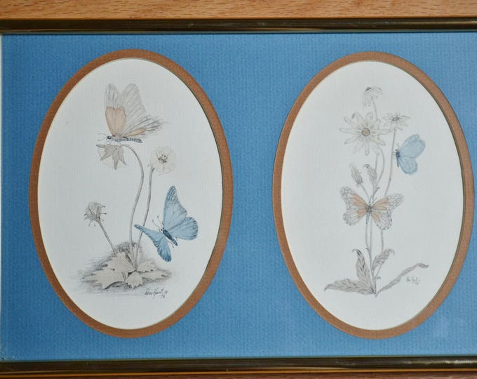 Vintage Don Kent Print Butterflies and Wild Flowers Framed Matted Nature Inspired Wall Decor PanchosPorch