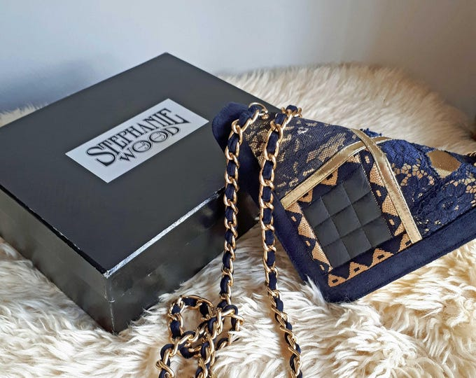 Leather Shoulder Bag, Bohemian Bag, Small Shoulder Bag, Blue Suede Bag, Stephanie Wood Bag, Vintage Bag, Leather Bag Evening Purse Black Tie