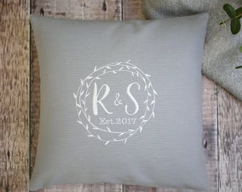 grey embroidered cushion, personalised cushion, house warming gift, wedding present, engagement gift, embroidered cushion with monograms