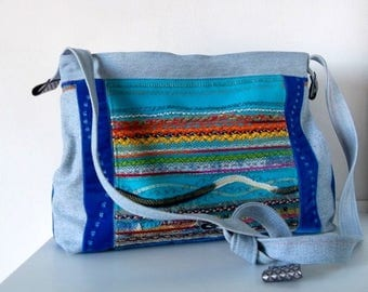 Art textiles/designer embroidered fabric and denim bag recycled turquoise and blue / boho chic