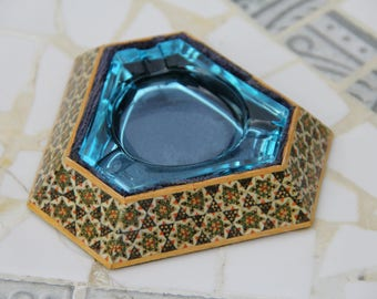 Vintage Triangle Ashtray with Patterned Blue Velvet-Lined Base & Removable Blue Glass Tray/Ashtray/Bohemian/Boho Decor/Bohemian