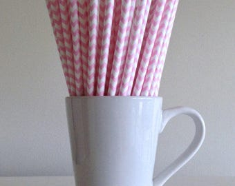 Pink Chevron Paper Straws (1 dozen)