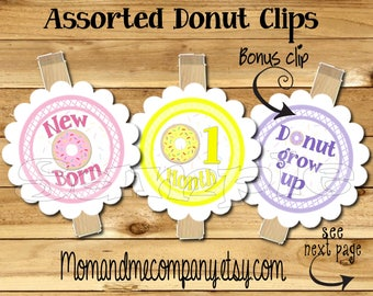 Donut First year photo clip banner newborn to 12 months 12 month banner first year banner Donut grow up birthday party banner RIBBON INCLD