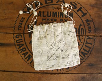 Antique Ivory Crocheted Drawstring Pouch Purse
