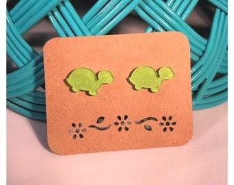 Acrylic Earrings, Green Glitter Turtles