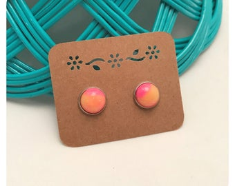 12mm Hot Pink & Orange Ombre Unicorn Cabochon Stud Earrings