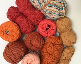 Deluxe Yarn Sampler // Curated Yarn Bundle // Weaving Crafting School Home Projects Party Decor // Orange Multi Pack // Stash Sale