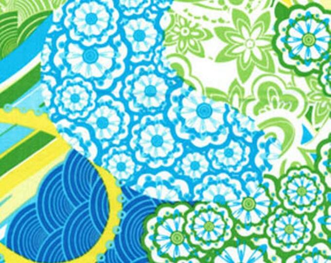 Fat Quarter Lili-fied - Paisley Daze in Royal Blue / Green - Cotton Quilt Fabric - Greta Lynn for Kanvas - Benartex Fabrics  (W614)