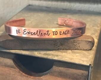 Hand Stamped cuff bracelet