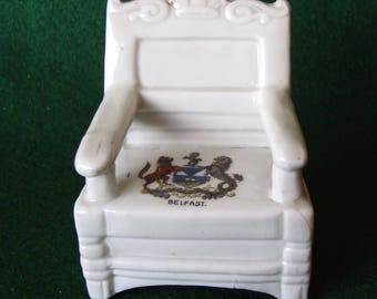 German Made  Crested China  Chair Belfast Crest Ware