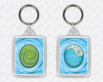 Moana Heart of Te Fiti Stone Necklace Water Keychain - Double Sided Keyring