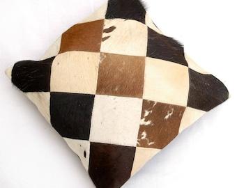 Natural Cowhide Luxurious Patchwork Hairon Cushion/pillow Cover (15''x 15'')a148