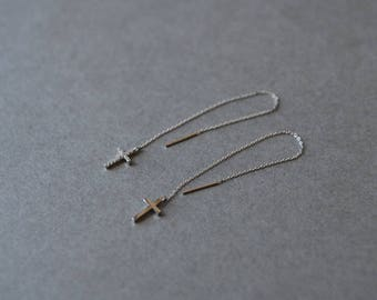 Silver Cross Threader Earrings, Long Chain Earrings - Sterling Silver