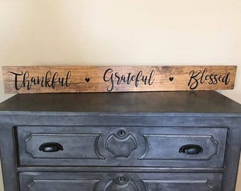 Handmade Thankful, Grateful Blessed Sign