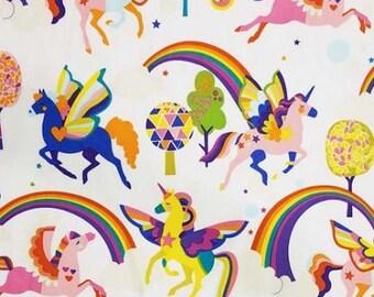 Unicorn fabric, Alexander Henry Magic Rainbow Shine in the Brite White colorway