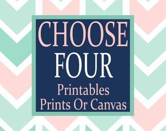 Choose Any 4 Wall Art Nursery Printables Canvas or Prints Nursery Quotes Bedroom Wall Art Girl Nursery Art Boy Nursery Art