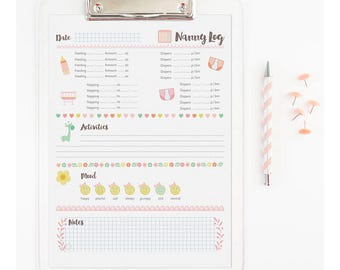 Printable Nanny Chart - Babysitter Chart for Newborns {Girls}