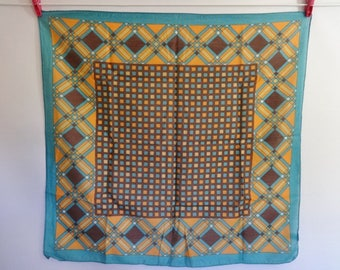 Vintage Japanese Scarf Geometric checkered 65cm x 69cm