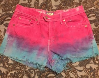 Size 4 Tie Dyed Denim Shorts