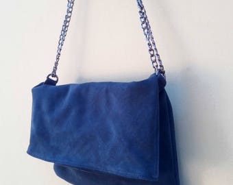 Suede leather clutch in blue