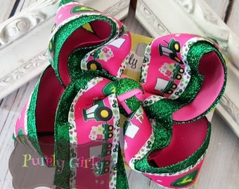 Tractor Hair bow Large Exlarge Green Tractor Bow Pink Tractor Hairbow